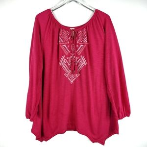Plus Size Embroidered Peasant Top Asymmetri